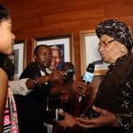 zuriel interviewing Ellen Johnson Sirleaf, president of Liberia